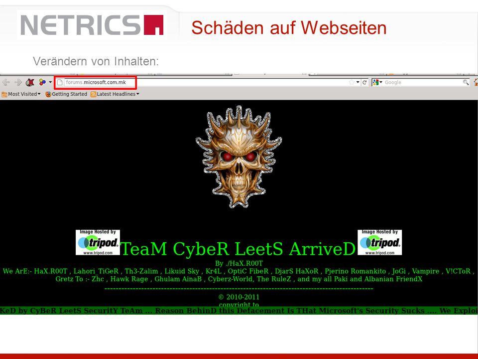 Schäden auf Webseiten Verändern von Inhalten: