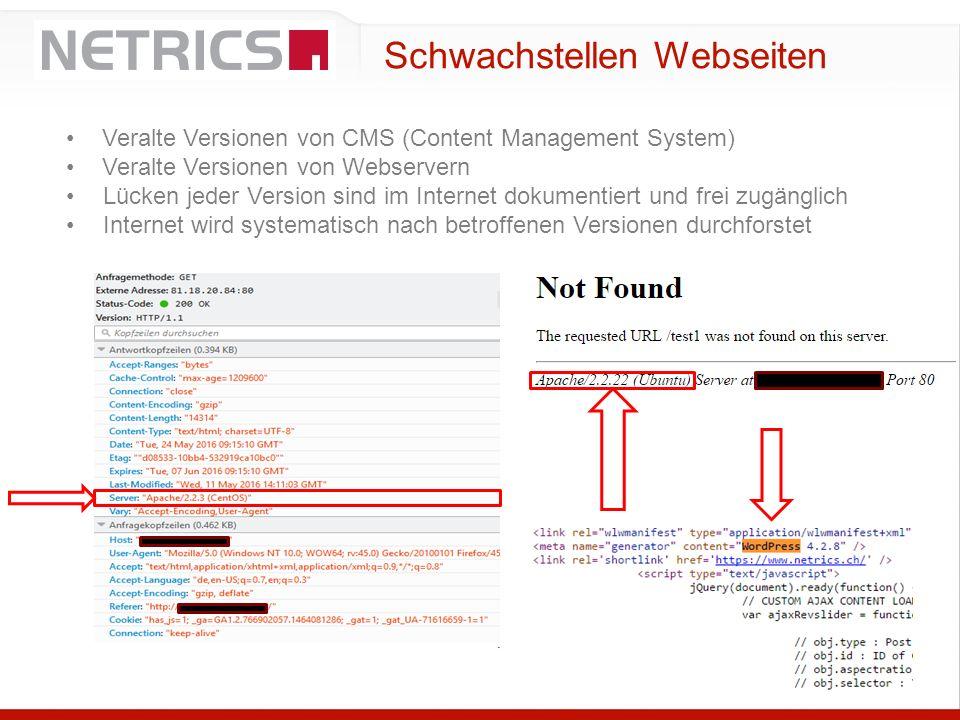 Schwachstellen Webseiten Veralte Versionen von CMS (Content Management System) Veralte Versionen von Webservern Lücken jeder Version sind im Internet
