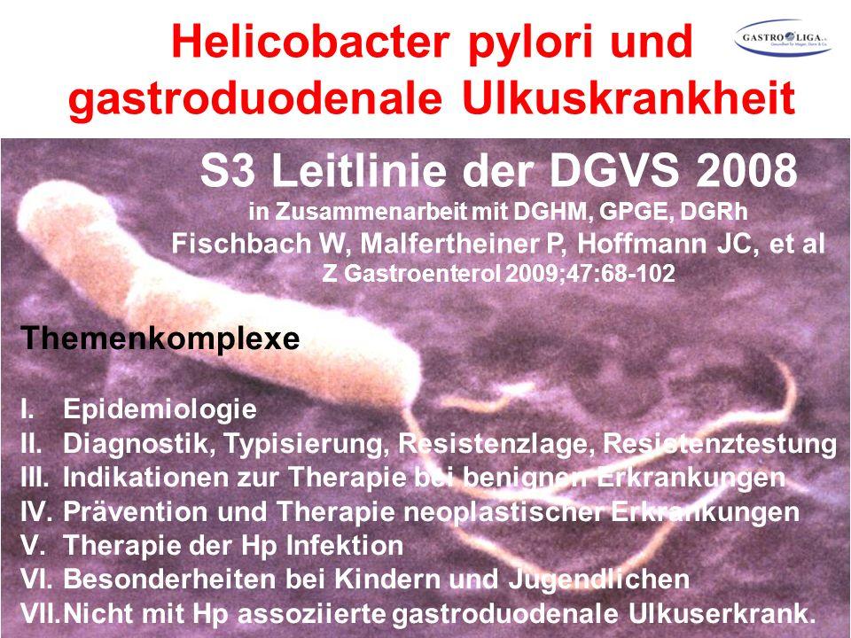 S3 Leitlinie der DGVS 2008 in Zusammenarbeit mit DGHM, GPGE, DGRh Fischbach W, Malfertheiner P, Hoffmann JC, et al Z Gastroenterol 2009;47:68-102 Themenkomplexe I.Epidemiologie II.Diagnostik, Typisierung, Resistenzlage, Resistenztestung III.Indikationen zur Therapie bei benignen Erkrankungen IV.Prävention und Therapie neoplastischer Erkrankungen V.Therapie der Hp Infektion VI.Besonderheiten bei Kindern und Jugendlichen VII.Nicht mit Hp assoziierte gastroduodenale Ulkuserkrank.
