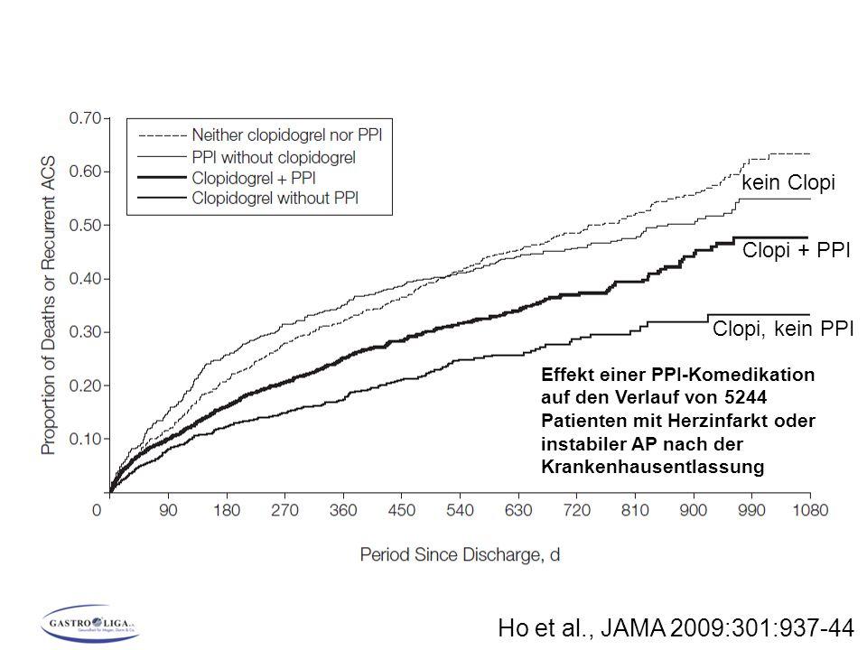 Ho et al., JAMA 2009:301:937-44 Effekt einer PPI-Komedikation auf den Verlauf von 5244 Patienten mit Herzinfarkt oder instabiler AP nach der Krankenha
