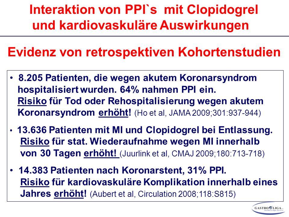 Interaktion von PPI`s mit Clopidogrel und kardiovaskuläre Auswirkungen Evidenz von retrospektiven Kohortenstudien 8.205 Patienten, die wegen akutem Koronarsyndrom hospitalisiert wurden.