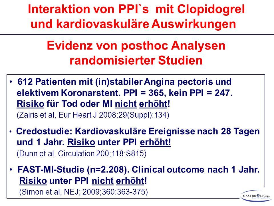 Interaktion von PPI`s mit Clopidogrel und kardiovaskuläre Auswirkungen Evidenz von posthoc Analysen randomisierter Studien 612 Patienten mit (in)stabi