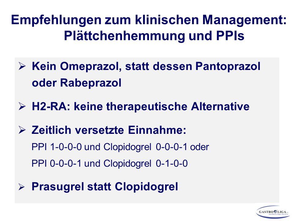  Kein Omeprazol, statt dessen Pantoprazol oder Rabeprazol  H2-RA: keine therapeutische Alternative  Zeitlich versetzte Einnahme: PPI 1-0-0-0 und Clopidogrel 0-0-0-1 oder PPI 0-0-0-1 und Clopidogrel 0-1-0-0  Prasugrel statt Clopidogrel Empfehlungen zum klinischen Management: Plättchenhemmung und PPIs