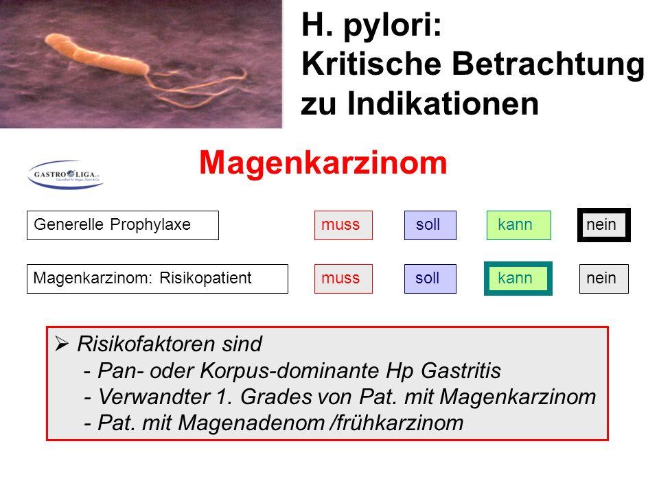 H. pylori: Kritische Betrachtung zu Indikationen Magenkarzinom Generelle Prophylaxemuss soll kann nein Magenkarzinom: Risikopatientmuss soll kann nein
