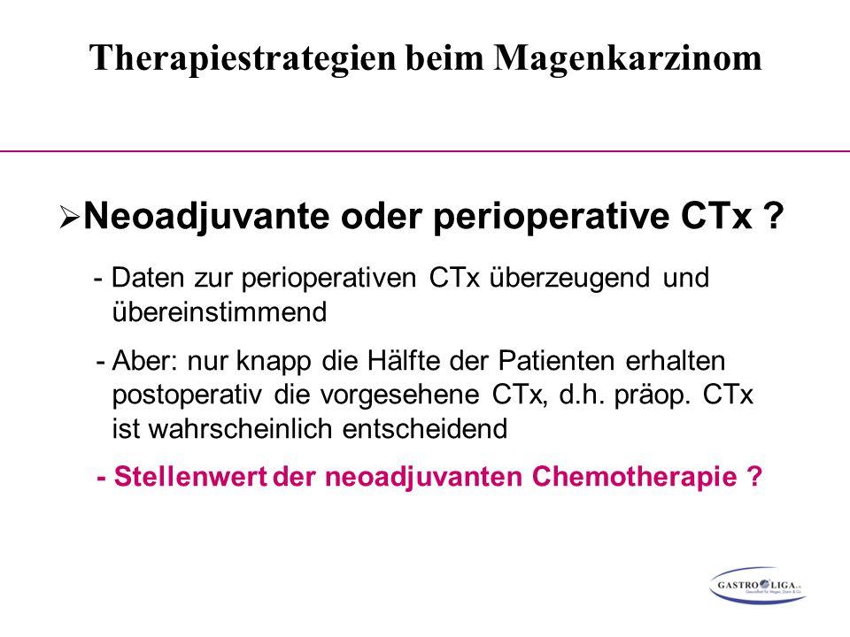 Therapiestrategien beim Magenkarzinom 000  Neoadjuvante oder perioperative CTx ? - Daten zur perioperativen CTx überzeugend und übereinstimmend - Abe