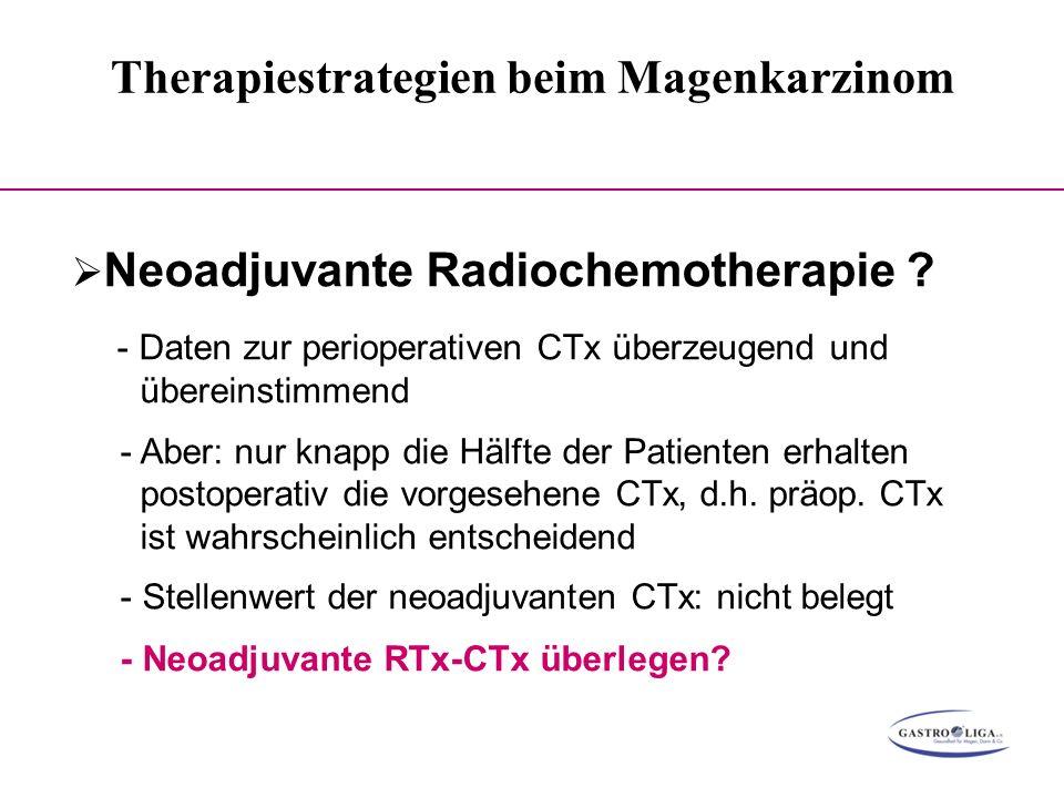 Therapiestrategien beim Magenkarzinom 000  Neoadjuvante Radiochemotherapie ? - Daten zur perioperativen CTx überzeugend und übereinstimmend - Aber: n