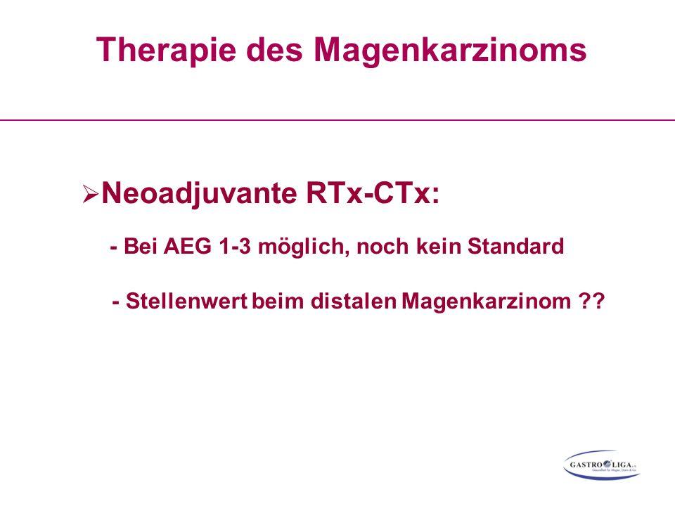 Therapie des Magenkarzinoms  Neoadjuvante RTx-CTx: - Bei AEG 1-3 möglich, noch kein Standard - Stellenwert beim distalen Magenkarzinom ??