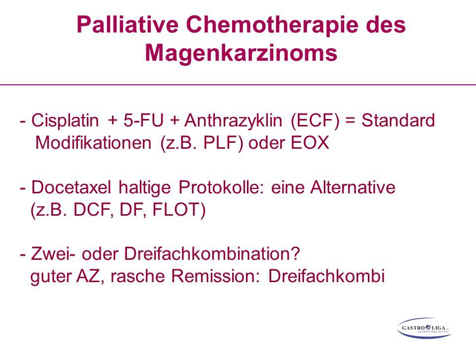 Palliative Chemotherapie des Magenkarzinoms - Cisplatin + 5-FU + Anthrazyklin (ECF) = Standard Modifikationen (z.B. PLF) oder EOX - Docetaxel haltige