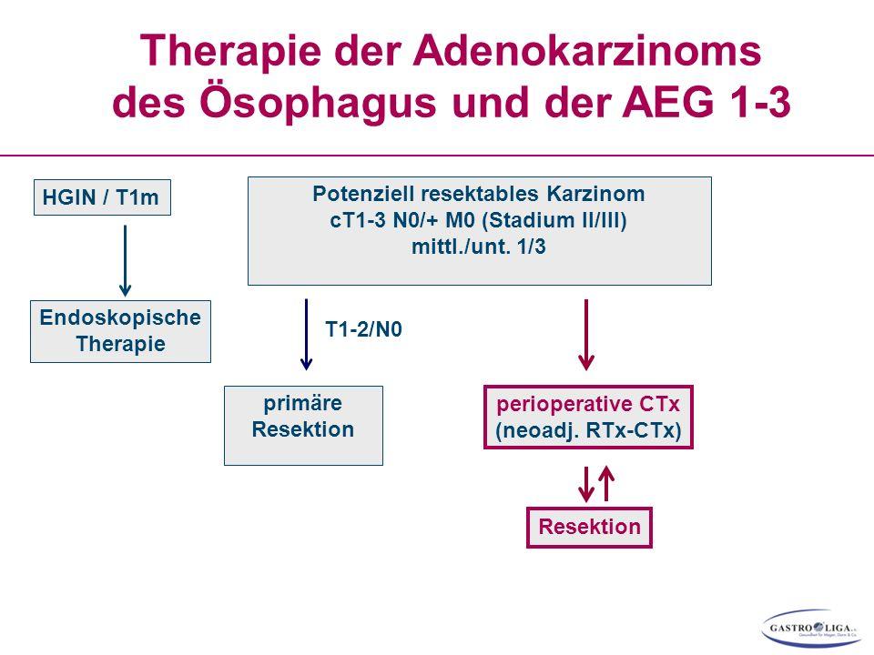 Therapie der Adenokarzinoms des Ösophagus und der AEG 1-3 HGIN / T1m Endoskopische Therapie perioperative CTx (neoadj. RTx-CTx) Resektion Potenziell r