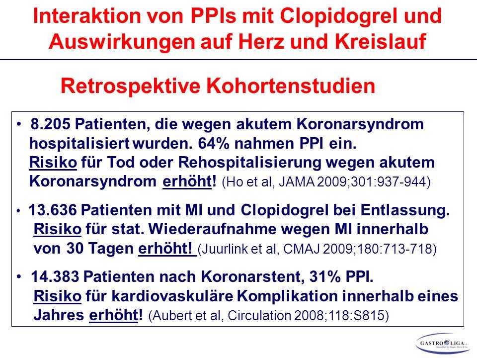 Interaktion von PPIs mit Clopidogrel und Auswirkungen auf Herz und Kreislauf Retrospektive Kohortenstudien 8.205 Patienten, die wegen akutem Koronarsyndrom hospitalisiert wurden.