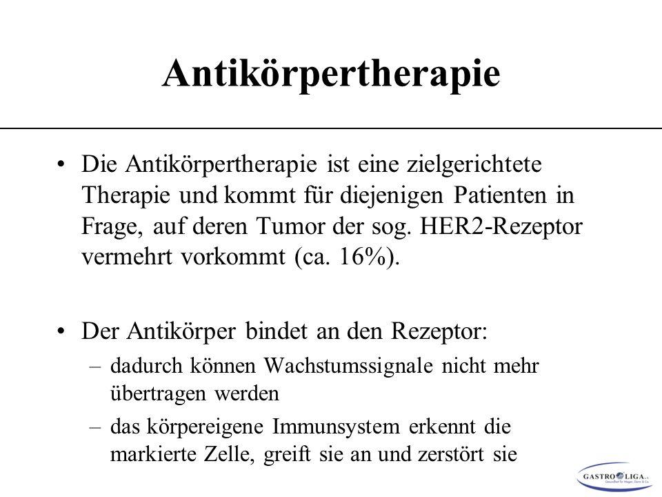 Antikörpertherapie Die Antikörpertherapie ist eine zielgerichtete Therapie und kommt für diejenigen Patienten in Frage, auf deren Tumor der sog.