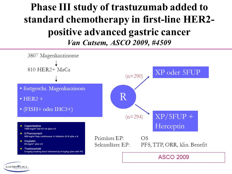 Phase III study of trastuzumab added to standard chemotherapy in first-line HER2- positive advanced gastric cancer Van Cutsem, ASCO 2009, #4509 Primär