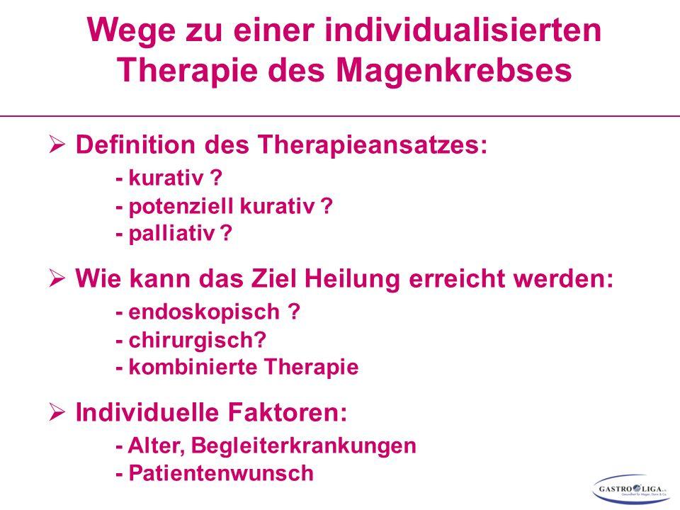 Wege zu einer individualisierten Therapie des Magenkrebses  Definition des Therapieansatzes: - kurativ .