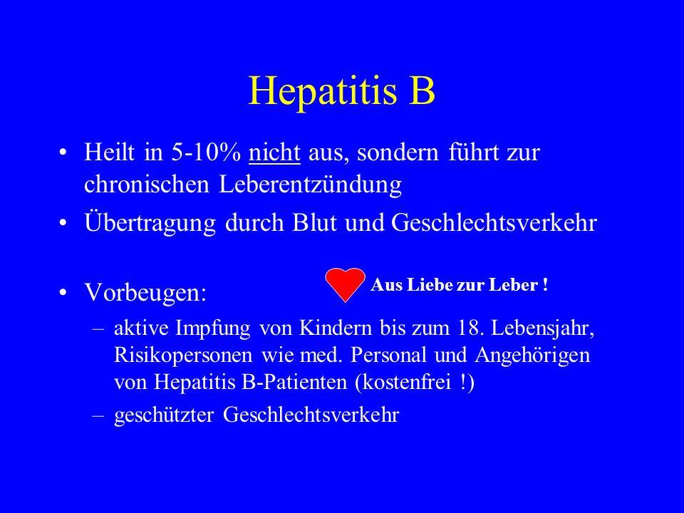 Hepatitis B Heilt in 5-10% nicht aus, sondern führt zur chronischen Leberentzündung Übertragung durch Blut und Geschlechtsverkehr Vorbeugen: –aktive I
