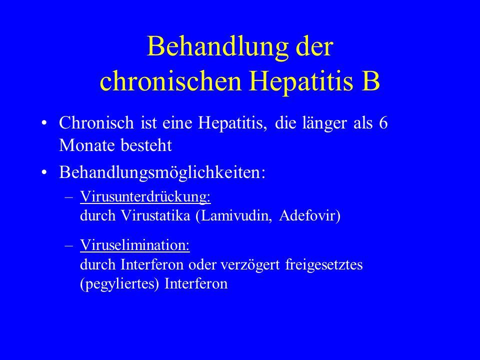 Behandlung der chronischen Hepatitis B Chronisch ist eine Hepatitis, die länger als 6 Monate besteht Behandlungsmöglichkeiten: –Virusunterdrückung: du