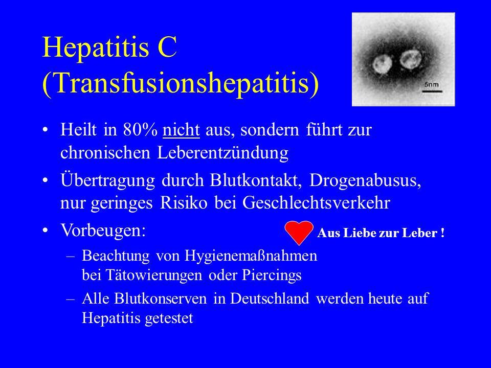 Hepatitis C (Transfusionshepatitis) Heilt in 80% nicht aus, sondern führt zur chronischen Leberentzündung Übertragung durch Blutkontakt, Drogenabusus,