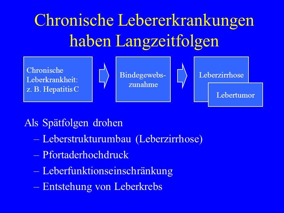 Chronische Lebererkrankungen haben Langzeitfolgen Chronische Leberkrankheit: z. B. Hepatitis C LeberzirrhoseBindegewebs- zunahme Lebertumor Als Spätfo