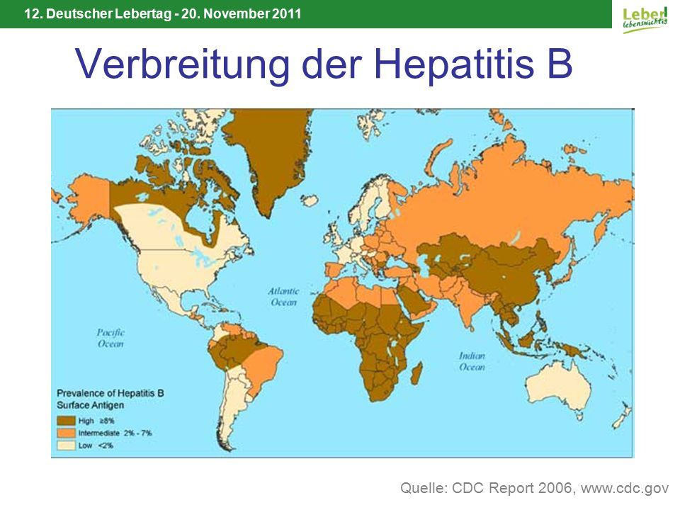 12. Deutscher Lebertag - 20. November 2011 Verbreitung der Hepatitis B Quelle: CDC Report 2006, www.cdc.gov