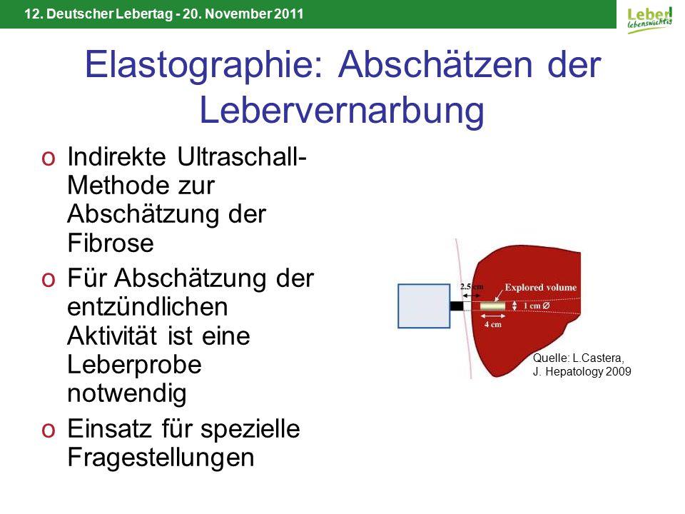 12. Deutscher Lebertag - 20. November 2011 Elastographie: Abschätzen der Lebervernarbung oIndirekte Ultraschall- Methode zur Abschätzung der Fibrose o