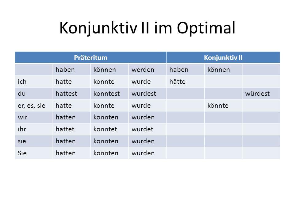 Konjunktiv II im Optimal Viele Verben sind im Präteritum und im Konjunktiv II identisch.