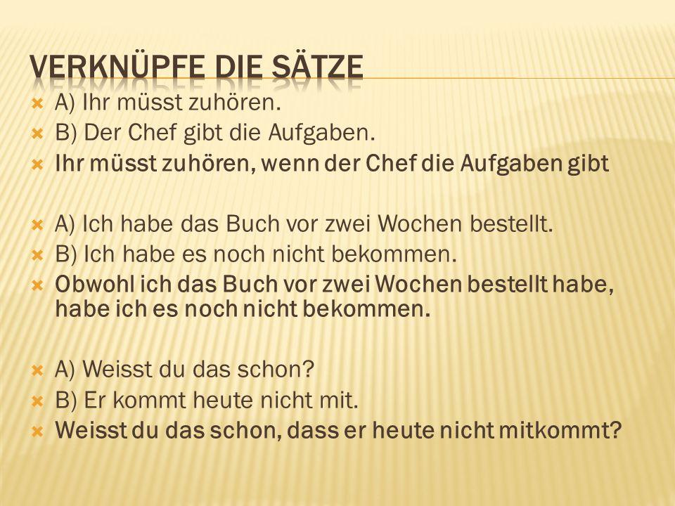  Opit: saksa 9 rakenteet -> Lausetyypit ja sanajärjestys -> sivulauseen sanajärjestyksen kertaus, sivulauseet