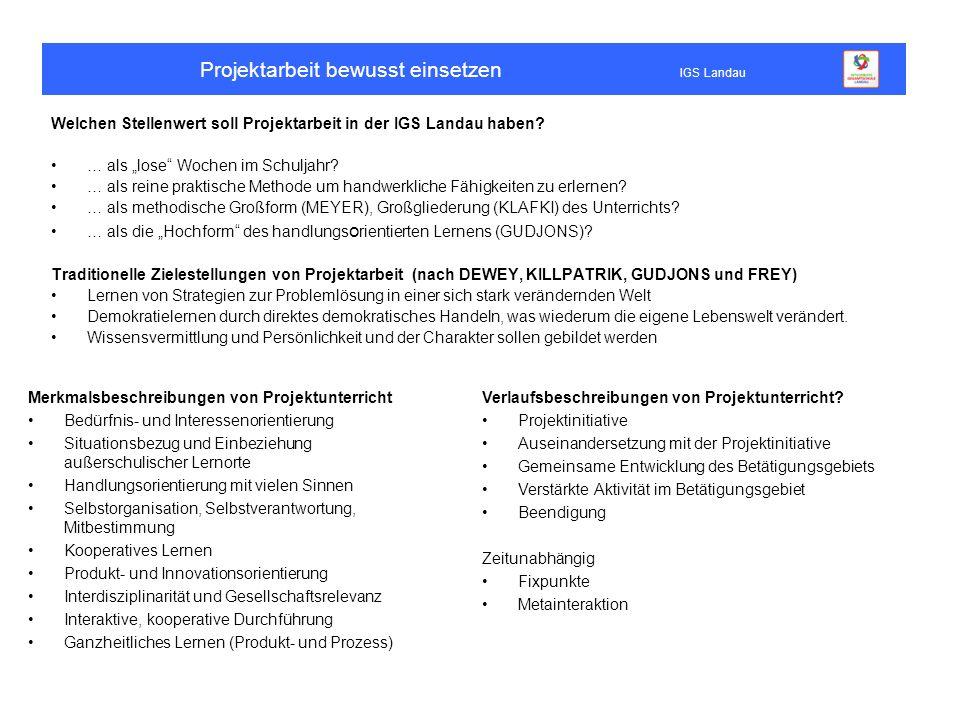 """Projektarbeit bewusst einsetzen IGS Landau Welchen Stellenwert soll Projektarbeit in der IGS Landau haben? … als """"lose"""" Wochen im Schuljahr? … als rei"""