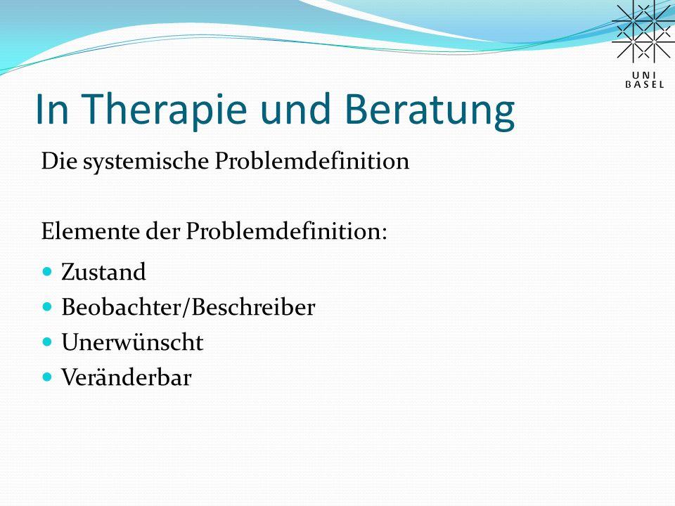 In Therapie und Beratung Die systemische Problemdefinition Elemente der Problemdefinition: Zustand Beobachter/Beschreiber Unerwünscht Veränderbar