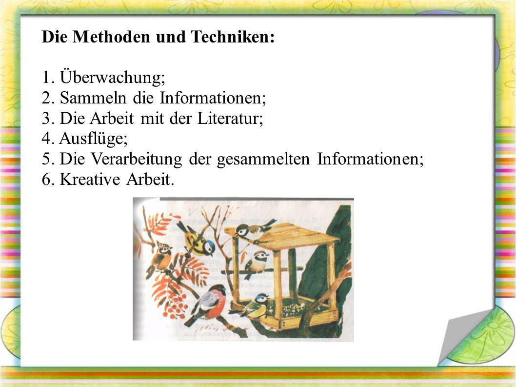 Die Methoden und Techniken: 1. Überwachung; 2. Sammeln die Informationen; 3.