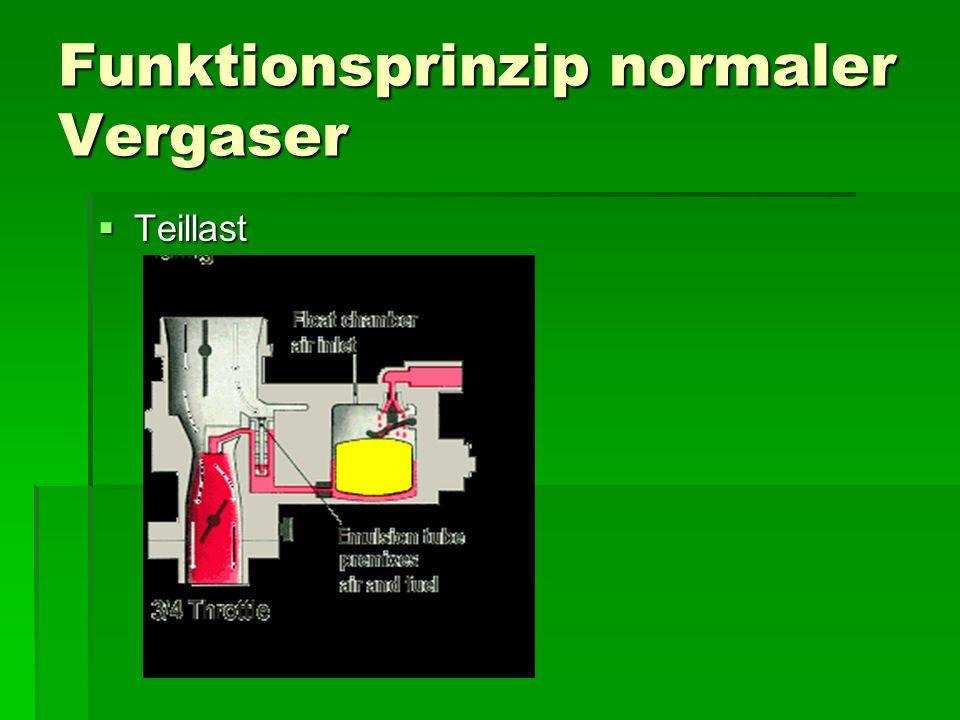 Funktionsprinzip normaler Vergaser  Teillast