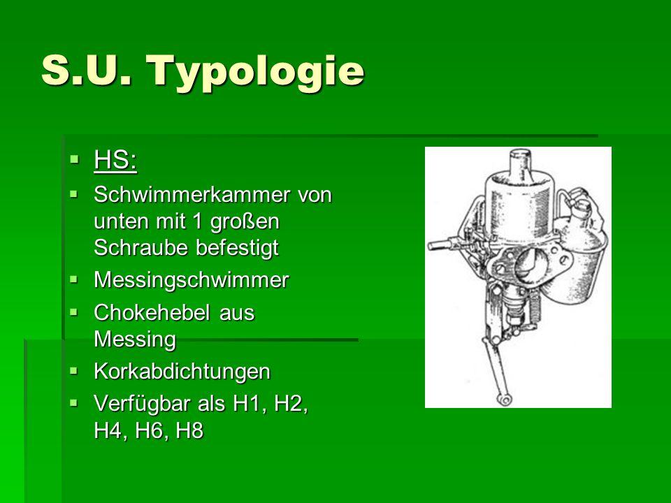 S.U. Typologie  HS:  Schwimmerkammer von unten mit 1 großen Schraube befestigt  Messingschwimmer  Chokehebel aus Messing  Korkabdichtungen  Verf
