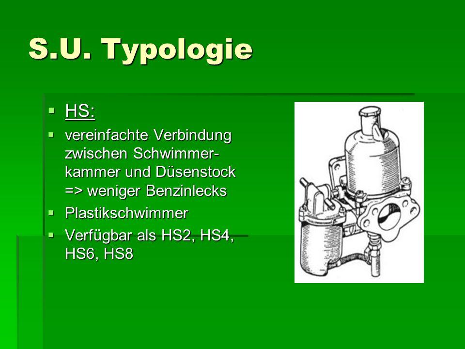 S.U. Typologie  HS:  vereinfachte Verbindung zwischen Schwimmer- kammer und Düsenstock => weniger Benzinlecks  Plastikschwimmer  Verfügbar als HS2
