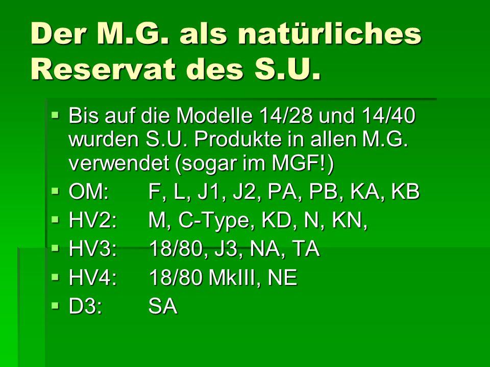 Der M.G.als natürliches Reservat des S.U.  Bis auf die Modelle 14/28 und 14/40 wurden S.U.