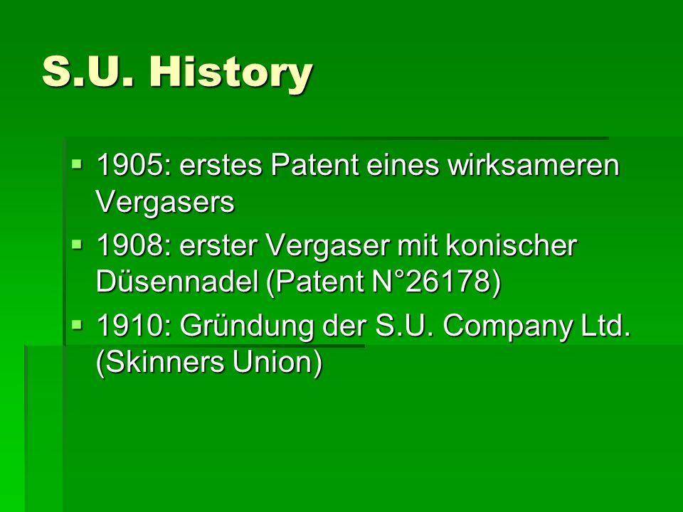 S.U. History 1111905: erstes Patent eines wirksameren Vergasers 1111908: erster Vergaser mit konischer Düsennadel (Patent N°26178) 1111910