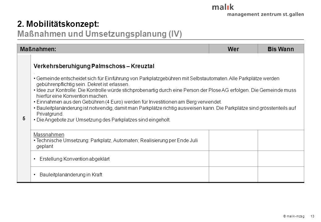 13© malik-mzsg Maßnahmen:WerBis Wann 5 Verkehrsberuhigung Palmschoss – Kreuztal.