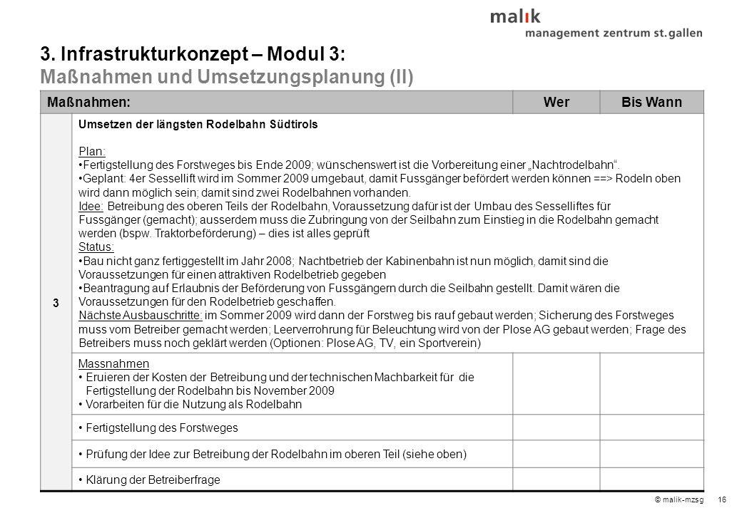 """16© malik-mzsg Maßnahmen:WerBis Wann 3 Umsetzen der längsten Rodelbahn Südtirols Plan: Fertigstellung des Forstweges bis Ende 2009; wünschenswert ist die Vorbereitung einer """"Nachtrodelbahn ."""