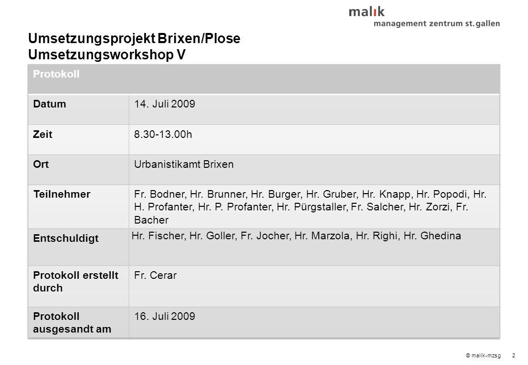 2© malik-mzsg Umsetzungsprojekt Brixen/Plose Umsetzungsworkshop V