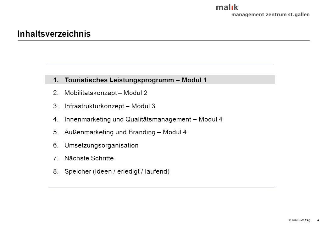 4© malik-mzsg Inhaltsverzeichnis 1.Touristisches Leistungsprogramm – Modul 1 2.Mobilitätskonzept – Modul2 3.Infrastrukturkonzept – Modul 3 4.Innenmarketing und Qualitätsmanagement – Modul 4 5.Außenmarketing und Branding – Modul 4 6.Umsetzungsorganisation 7.Nächste Schritte 8.Speicher (Ideen / erledigt / laufend)