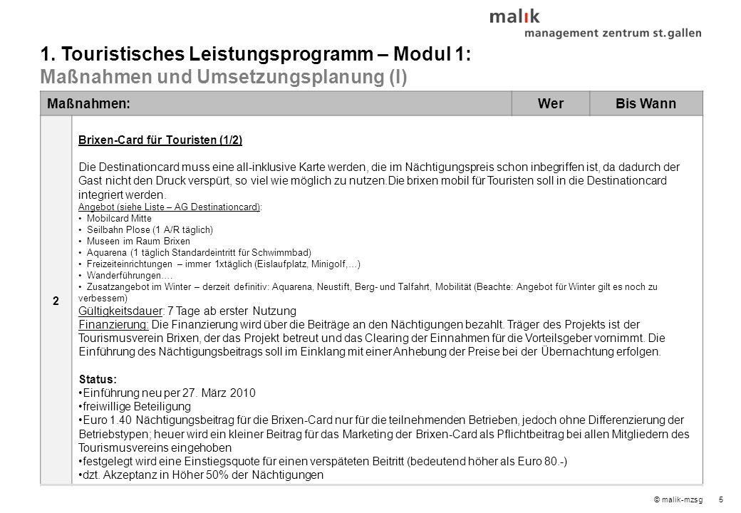 5© malik-mzsg Maßnahmen:WerBis Wann 2 Brixen-Card für Touristen (1/2) Die Destinationcard muss eine all-inklusive Karte werden, die im Nächtigungspreis schon inbegriffen ist, da dadurch der Gast nicht den Druck verspürt, so viel wie möglich zu nutzen.Die brixen mobil für Touristen soll in die Destinationcard integriert werden.