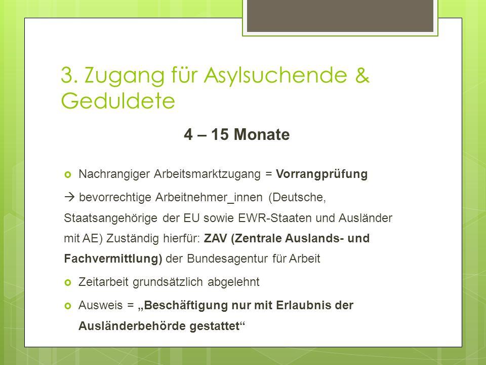 3. Zugang für Asylsuchende & Geduldete 4 – 15 Monate  Nachrangiger Arbeitsmarktzugang = Vorrangprüfung  bevorrechtige Arbeitnehmer_innen (Deutsche,