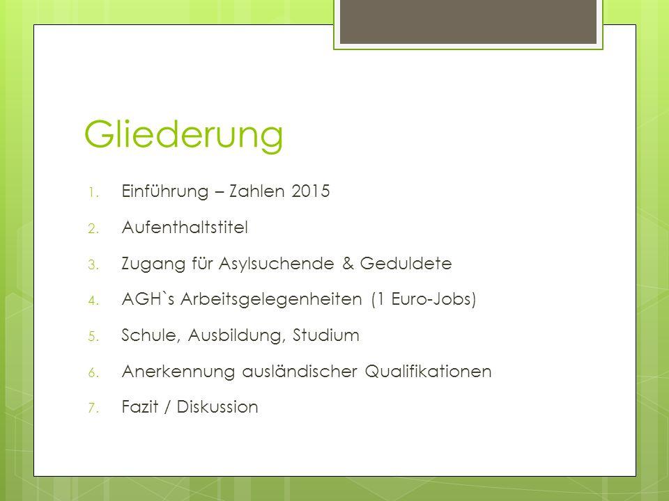 Gliederung 1. Einführung – Zahlen 2015 2. Aufenthaltstitel 3. Zugang für Asylsuchende & Geduldete 4. AGH`s Arbeitsgelegenheiten (1 Euro-Jobs) 5. Schul