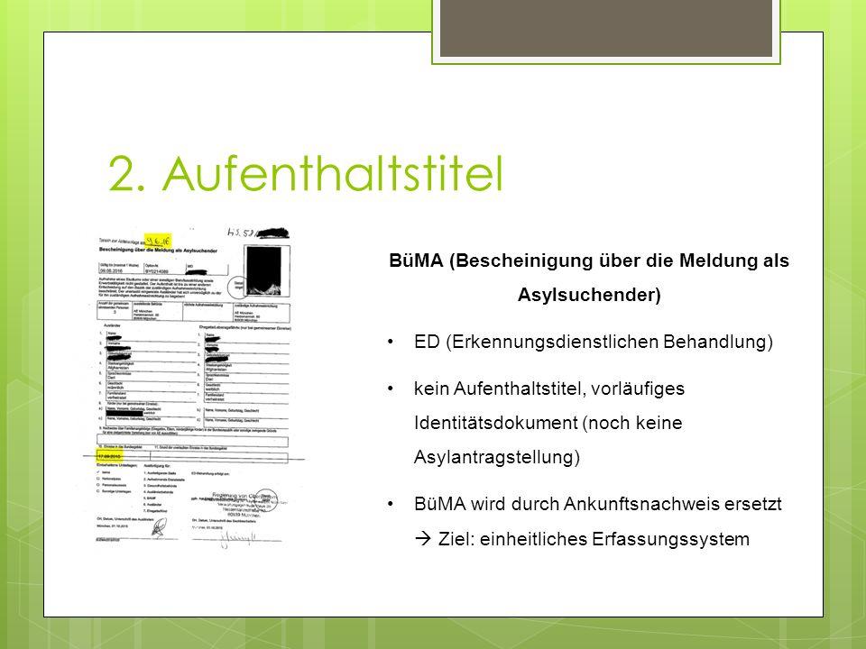 2. Aufenthaltstitel BüMA (Bescheinigung über die Meldung als Asylsuchender) ED (Erkennungsdienstlichen Behandlung) kein Aufenthaltstitel, vorläufiges