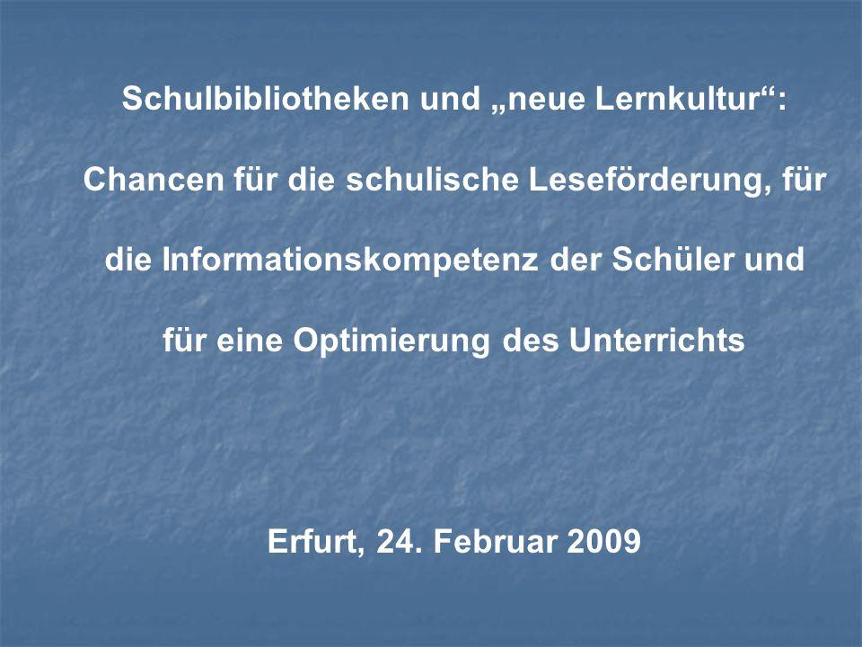1.Deutschland: ein schulbibliothekarisches Entwicklungsland Ca.