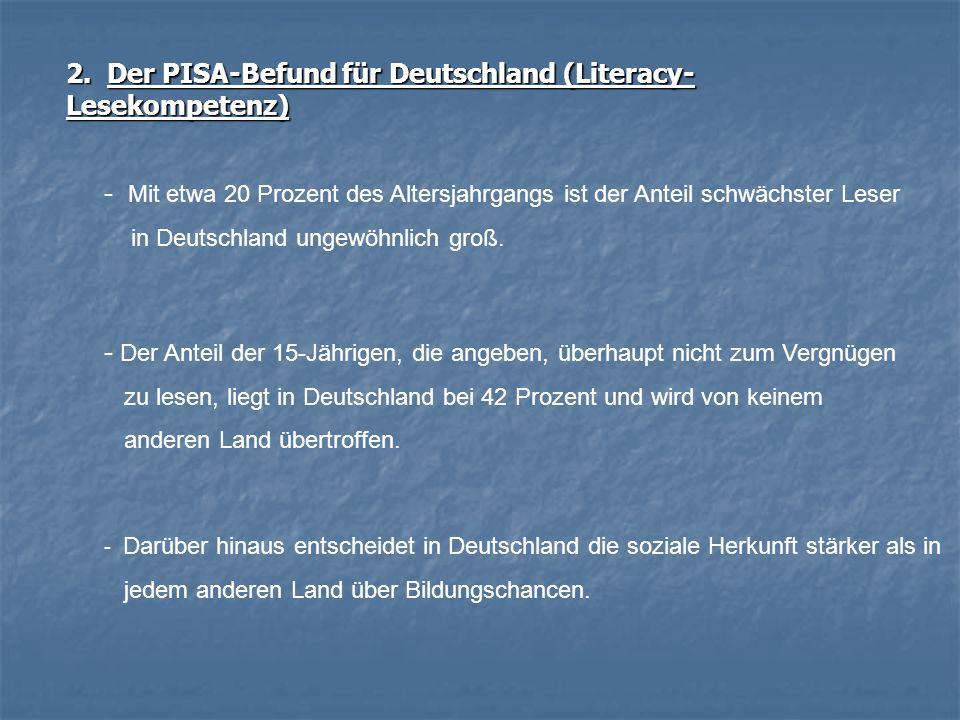 2. Der PISA-Befund für Deutschland (Literacy- Lesekompetenz) - Mit etwa 20 Prozent des Altersjahrgangs ist der Anteil schwächster Leser in Deutschland