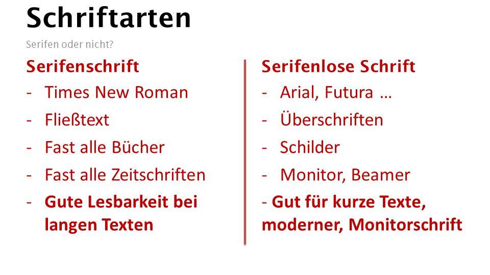 Schriftarten Serifen oder nicht.