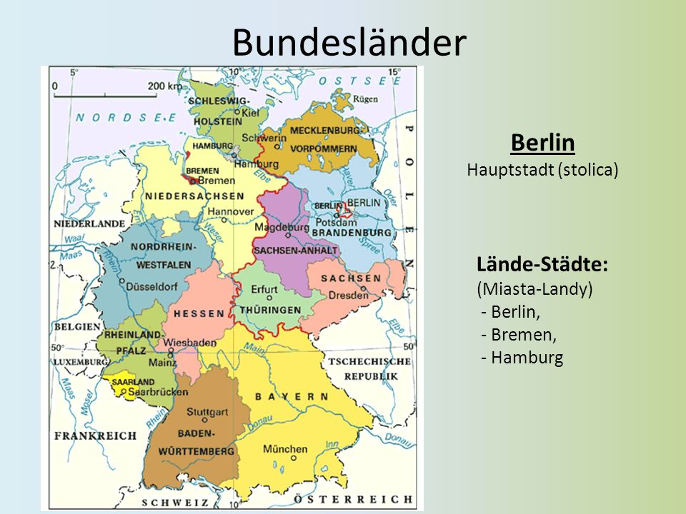 Gewässer Strömen: (rzeki) - Rhein (Ren), - Elbe (Elba), - Weser (Wezera), - Ems (Emsa), - Oder (Odra), - Donau (Dunaj) Seen : (jeziora) - Bodensee, - Müritz, - Chiemsee, - Schweriner See, - Starnberger See