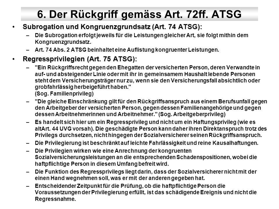 6. Der Rückgriff gemäss Art. 72ff. ATSG Subrogation und Kongruenzgrundsatz (Art. 74 ATSG):Subrogation und Kongruenzgrundsatz (Art. 74 ATSG): –Die Subr