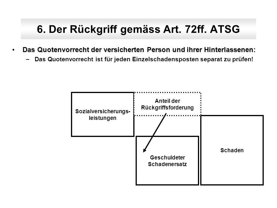6. Der Rückgriff gemäss Art. 72ff. ATSG Das Quotenvorrecht der versicherten Person und ihrer Hinterlassenen:Das Quotenvorrecht der versicherten Person