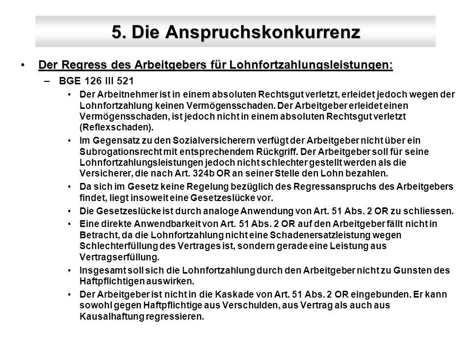 5. Die Anspruchskonkurrenz Der Regress des Arbeitgebers für Lohnfortzahlungsleistungen:Der Regress des Arbeitgebers für Lohnfortzahlungsleistungen: –B