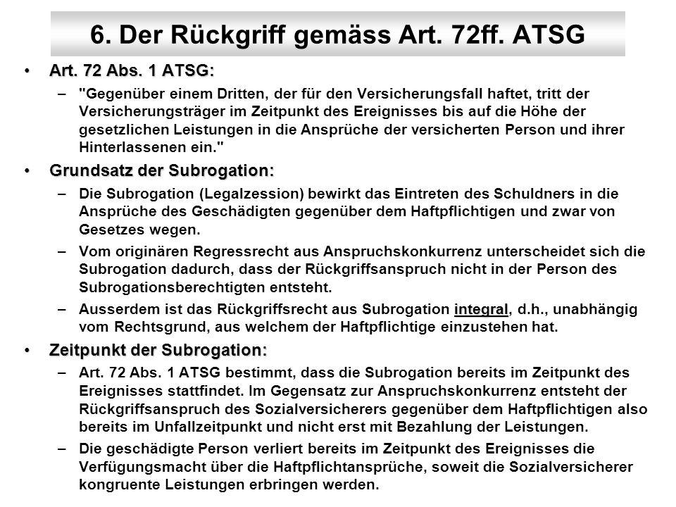 6. Der Rückgriff gemäss Art. 72ff. ATSG Art. 72 Abs. 1 ATSG:Art. 72 Abs. 1 ATSG: –