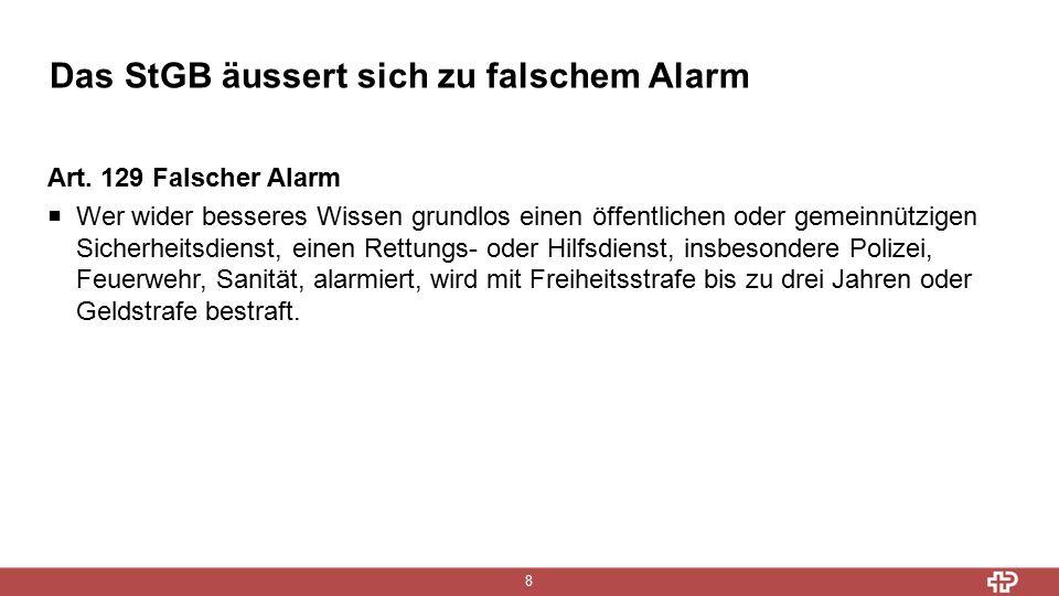 Das StGB äussert sich zu falschem Alarm 8 Art.